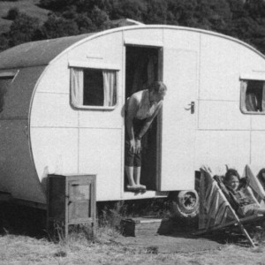 At the caravan in June 1957 a family enjoying their holiday in a caravan on hire from Swaleview