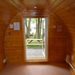 The cosy interior of our camping pods
